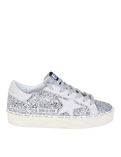 Golden Goose Women's G34ws945b1 Silver Leather Sneakers - Leather Sneaker Star Hi