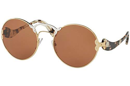 Prada PR55TS Sunglasses Pale Gold Silver w/Brown 57mm Lens ZVN6N0 SPR55T PR 55TS SPR ()