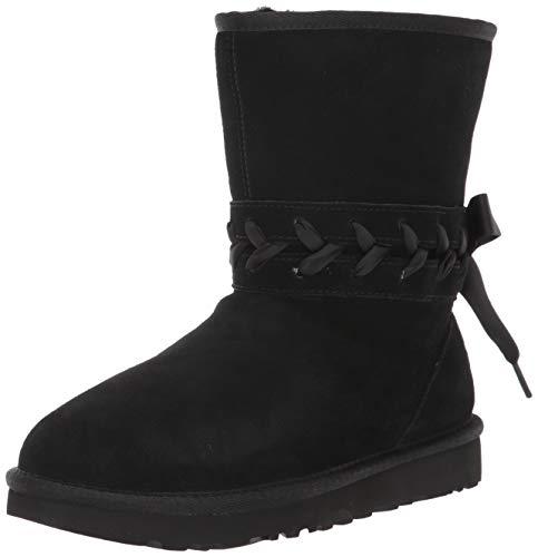 UGG Women's Classic LACE Short Fashion Boot, Black, 9 M US (Short Classic Boots Black Ugg)