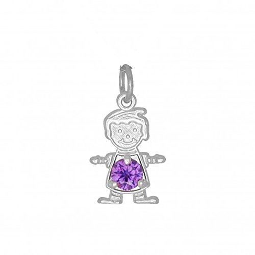 (DTLA Sterling Silver CZ Simulated Birthstone Boy Charm Pendant for Baby and Children - February)