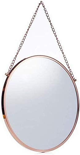 H.yina 10 '-30' 'Clean Large Modern Rose Gold Circle Wall Mirror | Contemporary Premium Vanity Mirror Floating Round Glass Panel | Vanity, Bedroom or Bathroom (Gold Circle Spiegel)