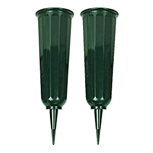 "Black Duck Brand Green 9.75"" Plastic Cemetery Memorial Grave Flute Flower Vases; 2 Pack 9"