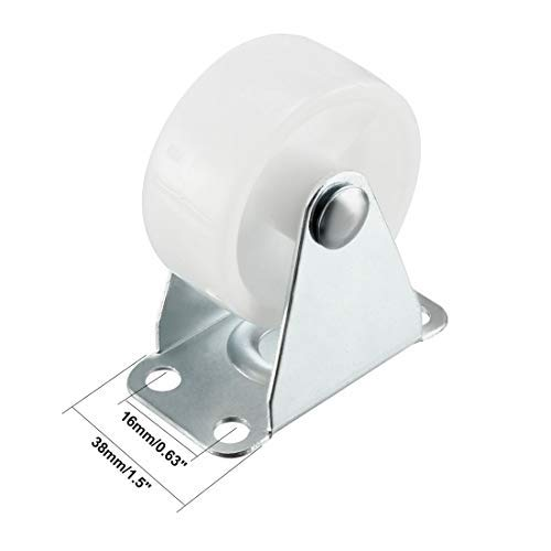 44 lb Capacity Each Fixed Wheel Wheels Wheel Mounted on 1.5-inch PP top Plate 4 Pieces