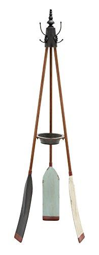 - Benzara 56042 Rowing Oar Coat Rack with Multiple Hooks, 16x69x16, Brown