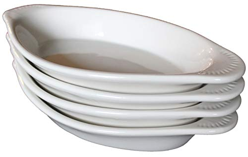 CAC Ceramic Oval Rarebit/Au Gratin Baking Dish with Pan Scraper, Set of 4 (12 Ounce, Bone White)