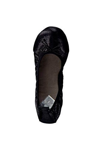 Tamaris Schuhe 1-1-22113-28 Bequeme Damen Ballerina, Metallic Schwarz (BLACK STRUCT 006)
