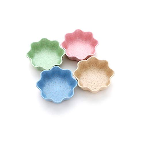 4pcs/set Household Soy Tomato Sauce Salt Vinegar Flavor Spices Plate Wheat Straw Seasoning Dish Tableware Small Breakfast dish,Plum blossom (Blossom Footed Cheese Plate)