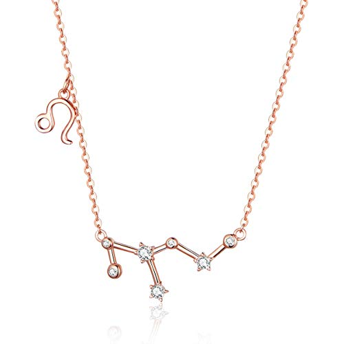 Horoscope Necklace Zodiac Pendant Leo Constellation Charm Astrology Choker Collarbone Crystal Chain Wedding Bridal Jewelry