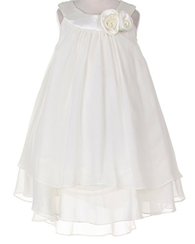 Big Girls' Silky Hi Low Multi Chiffon Casual Easter Flowers Girls Dresses Ivory Size 8