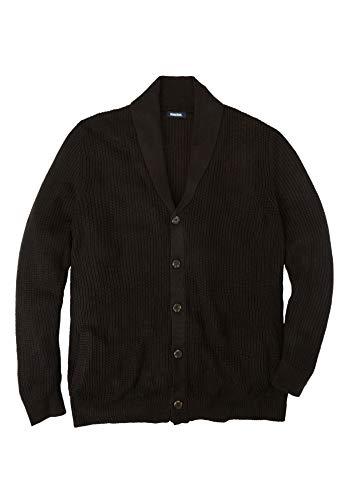 KingSize Men's Big & Tall Shaker Knit Shawl-Collar Cardigan Sweater, Black Tall-6XL