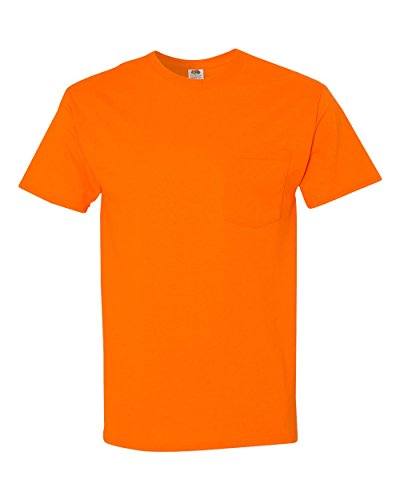 FOL 3930P Adult Heavy Cotton T-Shirt with Pocket, Safety Orange, 2XL
