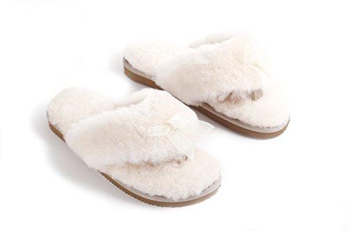 Crema Di Ciabatte Infradito In Pelle Di Pecora Australiana Naturale Di Agnello