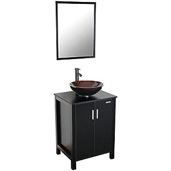 Eclife mdf top spacious space bathroom vanity and mirror - Bathroom vanity and mirror combo ...
