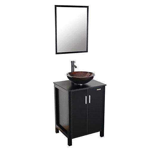 Eclife MDF Top Spacious Space Bathroom Vanity and Mirror Combo Black 24 -