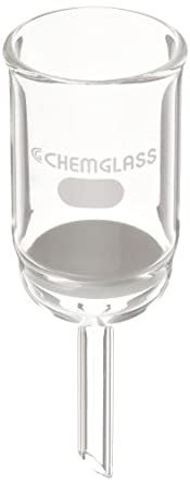 Chemglass CG-1402-11 Glass Buchner Filtering Funnel with Medium Frit, 30mL Capacity, 8mm OD x 75mm Length Stem, 30mm Diameter