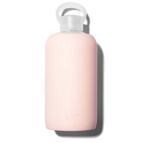 bkr Tutu Glass Water Bottle with Smooth Silicone Sleeve for Travel, Narrow Mouth, BPA-Free & Dishwasher Safe, Opaque Ballet Pale Peachy Pink, 32 oz / 1 Liter