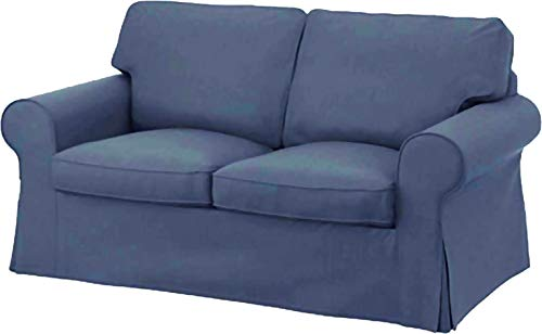 The Ektorp Two Seater Sofa Bed Cover Replacement is Custom Made for IKEA Ektorp 2 Seater Sleeper Only, A Quality Sofa Slipcover Replacement (Deep Blue)