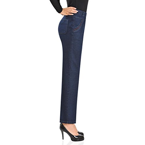 Denim Stretch Straight Mode la Middle High Womens Aged Waisted Chic Slim Pantalon Zhhlinyuan Trousers Elastic Blue Femme Dark Jeans Loose AwY8q4TTB