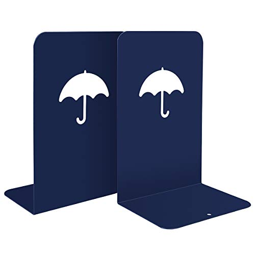 Eliseo Bookends, Non Skid 8 Inch Heavy Duty Metal Tall Book Ends Supports with Hollowed-Out Umbrella for Shelves Desk Office School, Great for Heavey Books, Children Books, Magazines (Matte Blue) by Eliseo