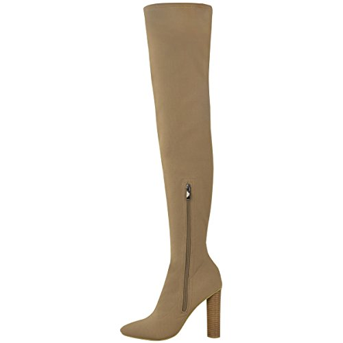 Fashion Thirsty Womens Thigh High Stretch Lycra Boots Over The Knee High Heels Size Mocha Brown Knit t0952