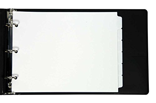 Dividers 8.5 White (Landscape Blank Tabs - 6 per Set- for Landscape Binders - tabs are Printable by a Copier Or Printer for 8 1/2
