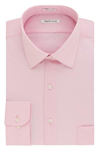 Van Heusen Men's Lux Sateen Regular Fit Solid Spread Collar Dress Shirt, Pink Mist, 16.5