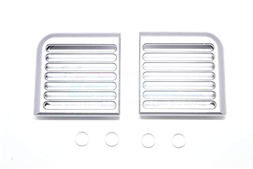 Traxxas TRX-4 Trail Defender Crawler Upgrade Parts Aluminum Headlight Assembly Rounded Brush Guard - 2Pc Set Silver