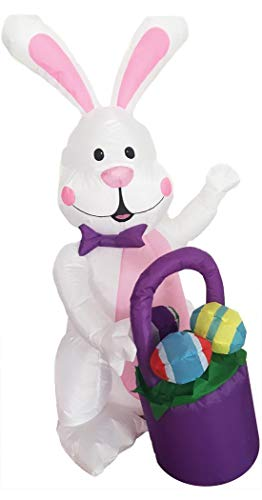 Morris Inflatable Bunny with Basket Decoration -