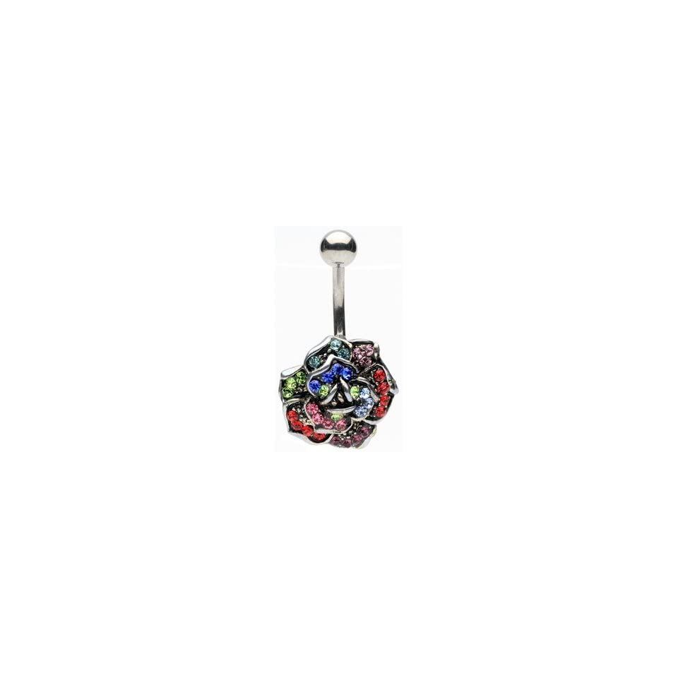 Colored Gem Antique Flower Belly Ring