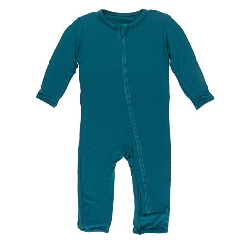 Kickee Pants Little Boys Solid Coverall with Zipper - Heritage Blue, 0-3 Months