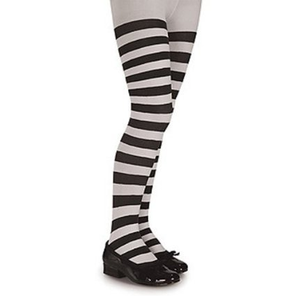 Striped Tights For Kids (Black and White Striped Tights - Child (4-6(40-55lbs),)