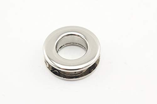 合金 亜鉛合金製 ネジ式 ハトメ アイレット 鳩目 座金付き 穴径9mm 8個入り ニッケル E33