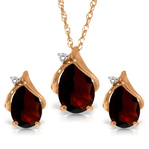 14k 18'' Rose Gold Teardrop Garnet with Diamond Accent Necklace and Earring Set by Galaxy Gold