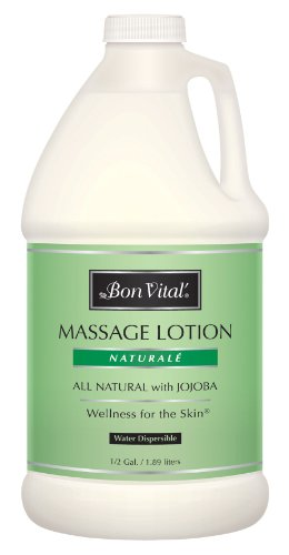 Bon Vital' Naturale Massage Lotion Made with Natural Ingredients for an Earth-Friendly & Relaxing Massage, All Natural Moisturizer, Relieves Muscle Soreness and Increases Circulation, 1/2 Gal Bottle (Bon Naturale Vital Lotion Massage)