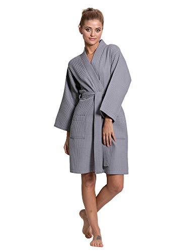 (Turkuoise Linen Lightweight Knee Length Waffle Kimono Bath and Spa Robe Gray)