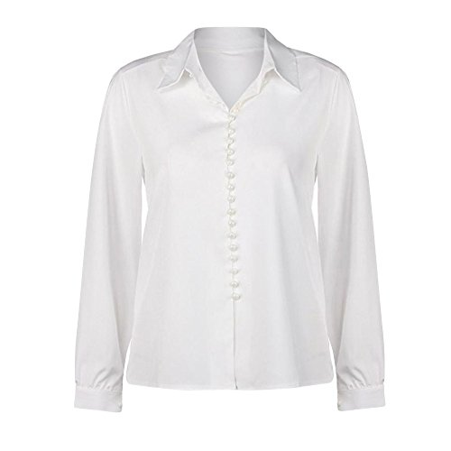 Pumsun ⭐️ Women Casual Solid Long Sleeves Button Down Blouse Lapel Shirt (S, White)