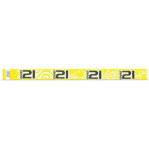 Tyvek Wristbands - Over 21 Pattern - Bar - Night Club - Alcohol Serving Events - Yellow Color - 500 Pieces of Wristbands per Box by Precision Dynamics (Image #2)