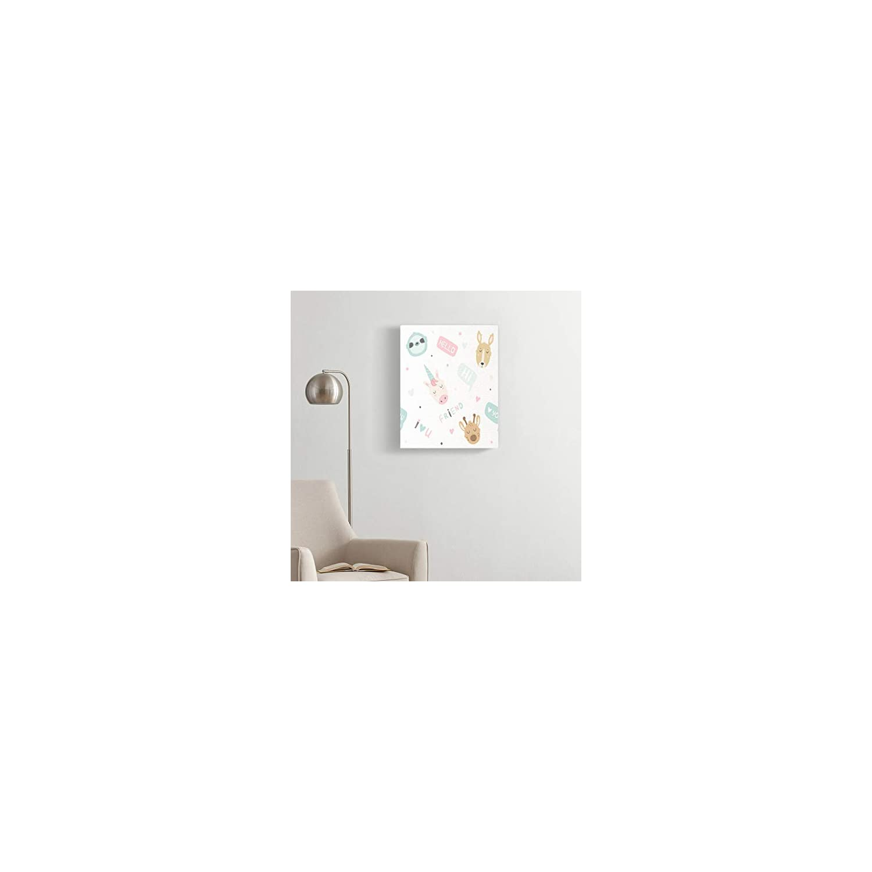 Dybsm Canvas Print Wall Art Wooden Framed 12×16 Inches Magical Cute Magic Animals Unicorn Giraffe Sloth Kangaroo Home Artwork Living Room Bedroom Office Decor Prints Easy to Hang