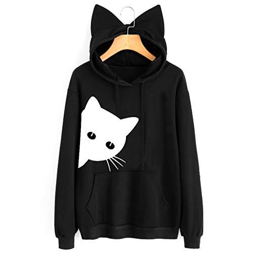0de645a6e7 De Manche Noir Chemisier ️meilleure Femmes À Nouveau Xl Chat Automne Sweat  Capuche Pullover Impression shirt Vente Maxi Vin Hiver B Sweatshirt Femme  Mode ...