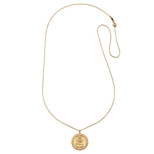 Satya Jewelry White Topaz Gold Lakshmi Pendant Necklace 30-Inch, One Size