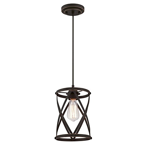Westinghouse Lighting 6362200 Isadora One-Light Mini, Oil Rubbed Bronze Finish with Highlights Indoor Pendant, ()