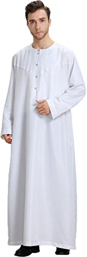 Ababalaya Men's Round Neck Long Sleeve Solid Saudi Arab Thobe Islamic Muslim Dubai Robe,White,XL by Ababalaya (Image #5)