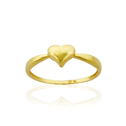 10k Solid Gold Polished Puffed Heart (10k Solid Gold Ring)