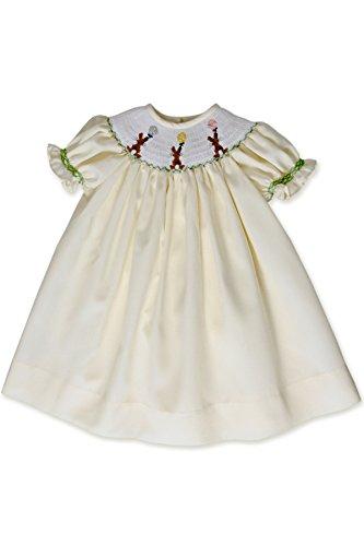 Baby Girls Hand Smocked Easter Bunny Bishop Dress Pastel Yellow ()