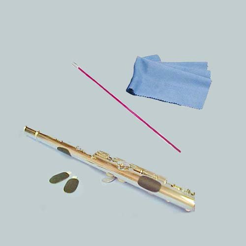 Flute Players Accessory Bundle - Flute Guide Finger Cushions + Pink Flute Cleaning Rod & Cleaning Cloth Flute Essentials FAP-Pk