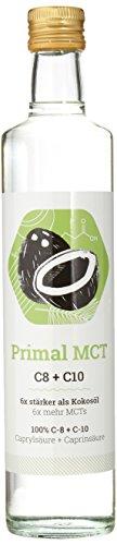 PRIMAL MCT Öl - Glasflasche (6x stärker als Kokosöl - Geschmacksneutral - C8 und C10 MCT Oil) - 500ml