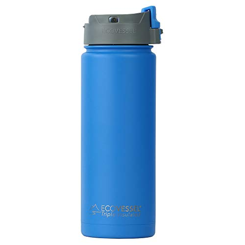 EcoVessel PERK Vacuum Insulated Stainless Steel Coffee & Tea Travel Bottle with Push Button Locking Top - 20 oz Tumbler Mug - Hudson Blue