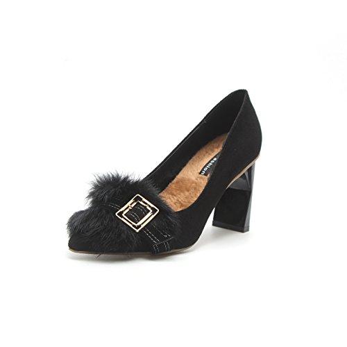 Tacón La Del Mujer Zapatos Ligeros Los Solo Y Negro De Alto Salvaje Moda Plush Punta Cabello WEPnTP