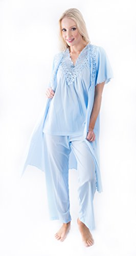 Shadowline Women's Beloved 41 Inch Flutter Sleeve Waltz Robe & PJ Set (MEDIUM, BLUE)