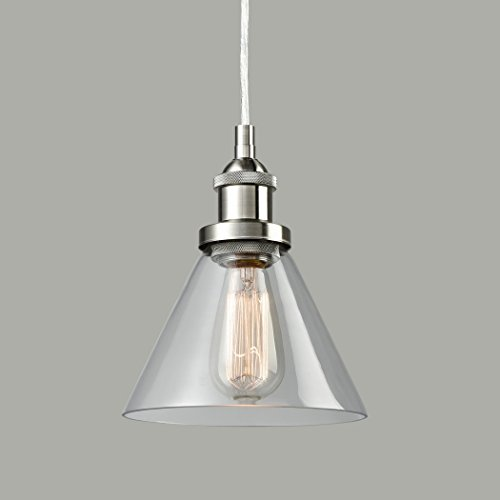 Mini Pendant Fire Glass Shade (CLAXY Ecopower Antique Industrial Mini Glass Pendant Lighting 1-Light Brushed Nickel Fixture)